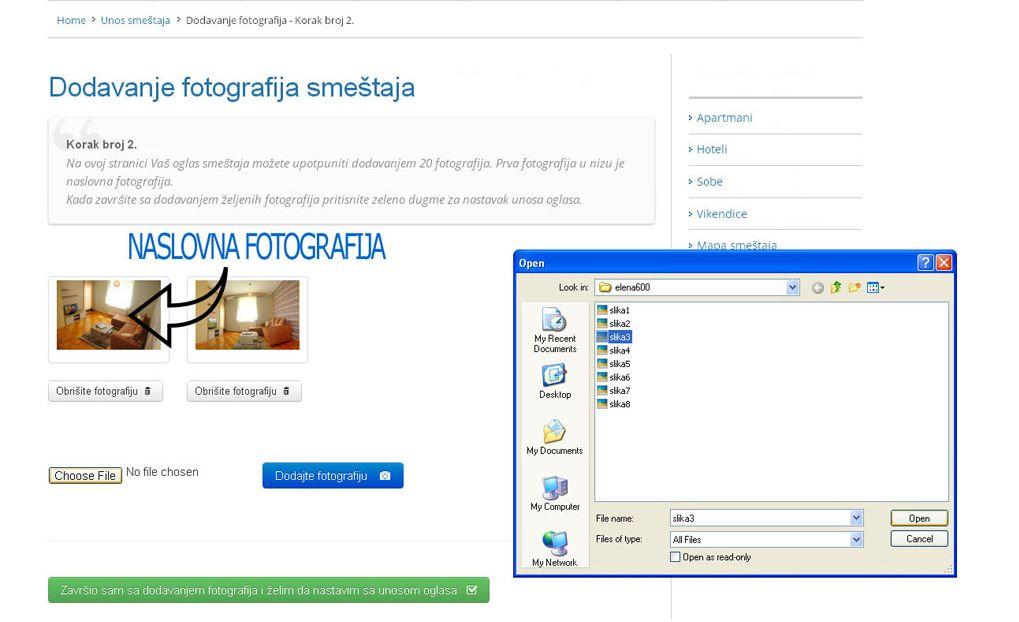 Srebrno jezero  - postavljanje oglasa -  slika 2.
